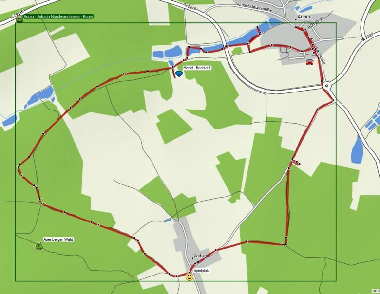 Wanderkarte mit Route Rundweg Aurau bei Büchenbach