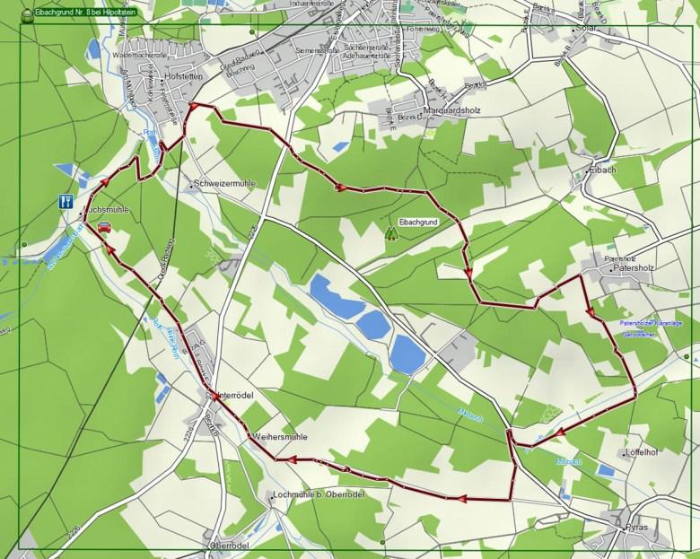 Tourenverlauf Karte Wanderweg Nr. 8 bei Hilpoltstein durch den Eibachgrund