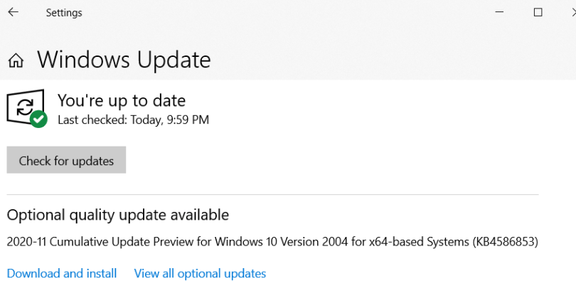 Screenshot of Windows Update System Setting, currently showing as up to date