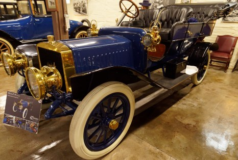 The 1908 5-Passenger Touring Car -- note the huge headlights!
