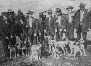 Fox hunters gathered in front of the Old Cloudland Hotel on top of Roan Mountain.