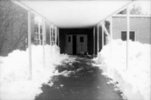 This image illustrates the depth of the snowfall at the entrance to Deyton Primary School.
