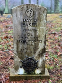 David Baker ~ Soldier of the Revolution and Founder of Bakersville