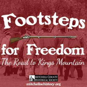 Footsteps for Freedom Podcast Graphic with logo and marching re-enactors in the background