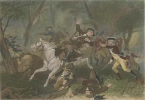 Painting of Patrick Ferguson as he is shot from his horse during the Battle of Kings Mountain