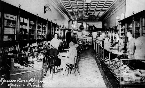 Photo of the interior of the Spruce Pine Pharmacy
