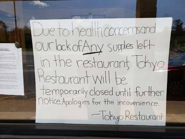 Tokyo Restaurant Closed Sign Due To Lack of FOod