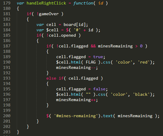 JavaScript code for putting a flag on a minesweeper cell.