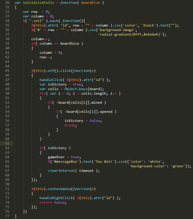 JavaScript code for attaching click handlers to minesweeper cells.