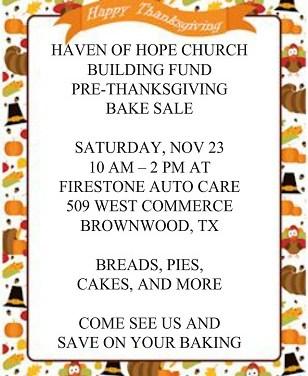 Haven of Hope Bake Sale Saturday (11/23)