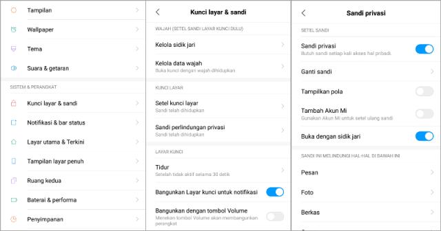 Cara Mengganti Sandi Perlindungan Privasi di Xiaomi MIUI 10