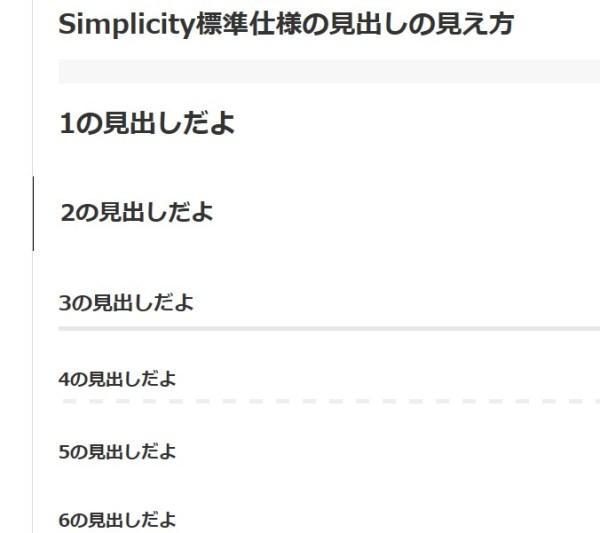 この状態がSimplicity(子テーマ使用中)のデフォルト(標準)です。
