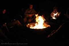 Relaxing by the campfire and roasting marshmallows