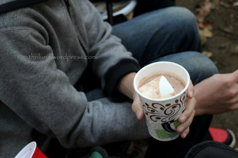 Hot chocolate - one of the best things about camping. Photo taken by my daughter