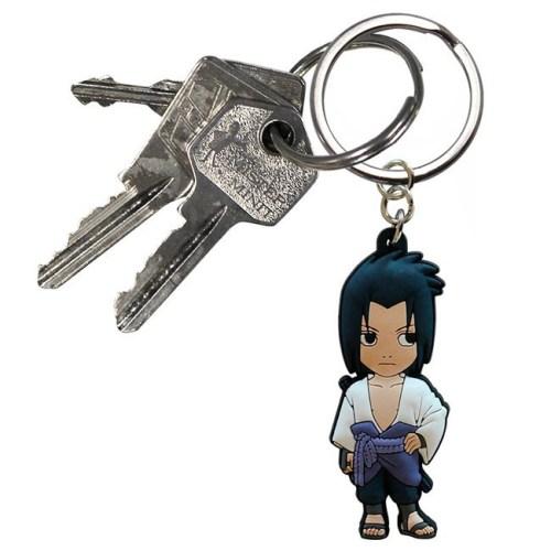 Portachiavi Naruto Shippuden Sasuke Uchica in gomma dettaglio chiavi