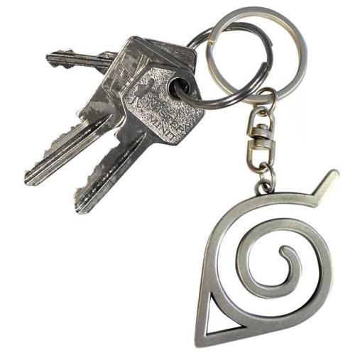 Portachiavi Naruto Shippuden Simbolo del Villaggio della Foglia 3D dettaglio chiavi
