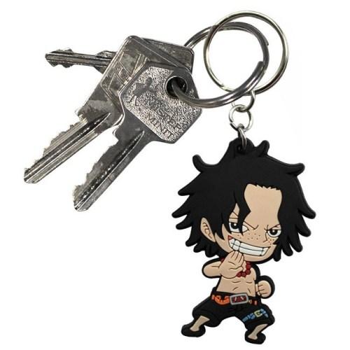 Portachiave Portgas Ace One Piece in gomma retro dettagli chiavi