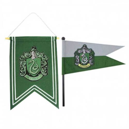 Set Gagliardetto e Bandierina Serpeverde Harry Potter