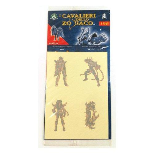 4 Tatoos Temporanei e 4 Stickers I Cavalieri dello Zodiaco