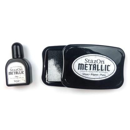 Tuskineko Stazon Metallic Ink Kit, Silver