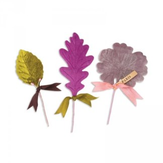 Bigz Die w/Bonus Textured Impressions - Millinery Leaves, Sizzix