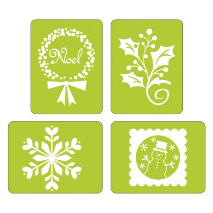 r Sizzix Textured Impressions Embossing Folders 4PK - Noel Set