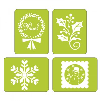 r Sizzix Textured Impressions Embossing Folders 4PK - Noel Set