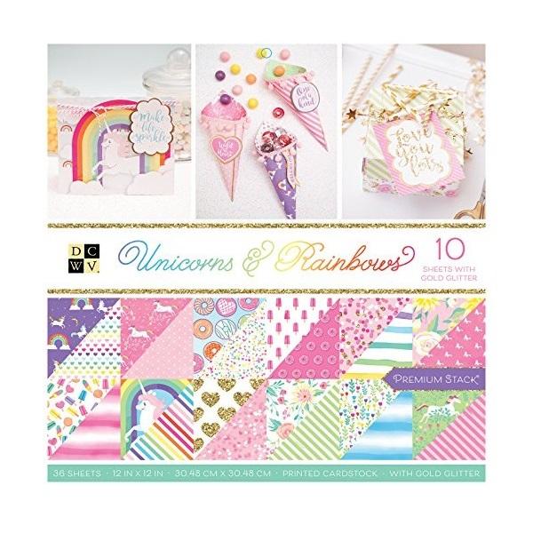 Die Cuts with a View - Colección Unicornios y Arcoiris - Pila de papel brillante - 12 x 12