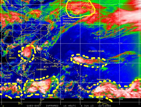 GOES satekllite image on June 8, 2013  showing various regions of disturbed weather in the Atlantic basin.