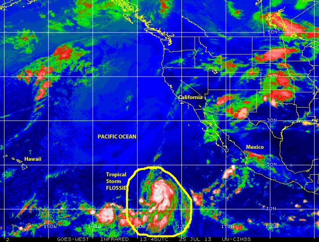 Tropical Storm FLOSSIE moves WNW, over the eastern Pacific, in the general direction of Hawaii on 25 July 2013