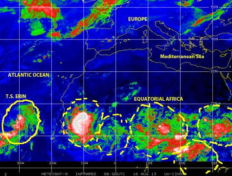Tropical storm ERIN is located to the west of the Cape Verde Islands oin the morning hours on 16 August 2013