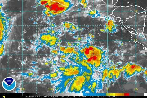 Region populated by disturbed weather cells off the coast of Central America and Panama, in the eastern east Pacific to the southeast of AMANDA's current posiiton on 25 May 2014