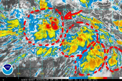 A zoom-in of NOAA satellite imagery of 31 May 2014 shows an area of low pressure off the Pacific coast of southern Mexico that is showing some signs of potential cyclonic development, which is being monitored by the NHC