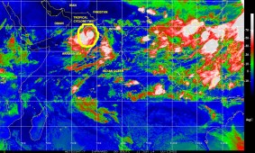 Color-enhanced infrared satellie image of 10 June 2014 showing Tropical Cyclone TWO over the northern Indian Ocean, in the Arabian Sea.