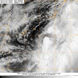 Visible light satellite image of 10 JUne 2014 showing INVEST 94W over the northern Philippines Sea