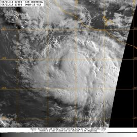 Visible light satellite image in the early morning hours (Pacific Time) of Wednesday 11 June 2014 showing Hurricane CRISTINA
