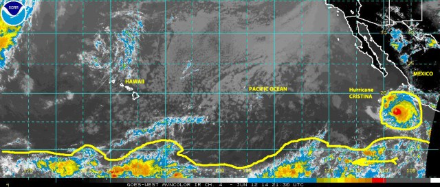 Satellite image for the aviation industry on 12 June 2014 showing Hurricane Cristina and other tropical weather activity extending across the ocean close to the equator