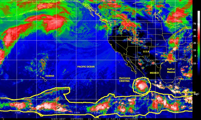 Color-enhanced infrared satellite image of 12 June 2014 showing Hurricane CRISTINA off the Pacific coast of Mexico and, to its south, part of the 'belt of tropical activity' extending more than 9,000 kilometers across the Pacific ocean