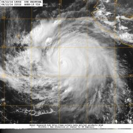 Visible light satellite image of 12 June 2014 showing a close-up of Hurricane CRISTINA and its eye in the early afternoon hours