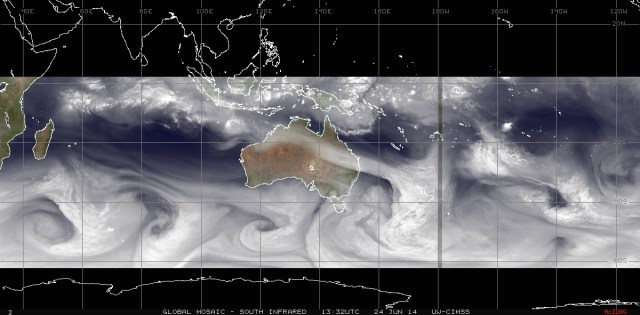 Water-vapor filtered mosaic of satellite images of 24 June 2014 over Australia, portiond of the Indian Ocean and the Southeast Pacific Ocean