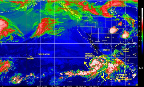 Infrared color-enhanced GOES WEST satellite image (NOAA) on 29 June 2014 showing a tropical depression chased by a low pressure system over the eastern east Pacific off the coast of Mexico