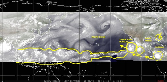 Water-vapor satellite mosaic image (NOAA) of 30 June 2014 showing Tropical Storm DOUGLAS off the coast of Mexico and a companion 'chasing' low pressure system nearer to the coast. Other features shown include a large storm cell in the Gulf of Panama and a train of tropical acyivity extending the length of the Pacific and beyond into the South China Sea