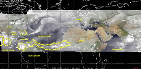 Water-vapor-filter satellite image (NOAA) of 30 June 2014 showing the Atlantic basin and 'Hurricane Alley'