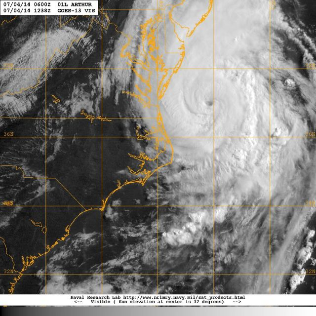 Visible light satellite image of Hurricane ARTHUR in the morning hours of 4 July 2014 as it progressed off the coast of Virginia mowing toward the NE