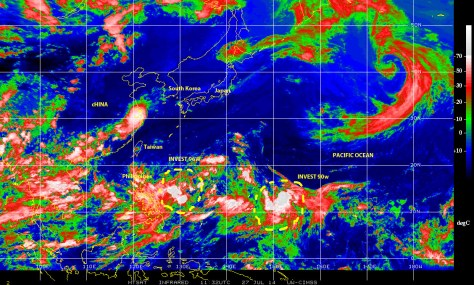 Color-enhanced infrared satellite image shows potential cyclonic activity near the Philippines on 27 July 2014
