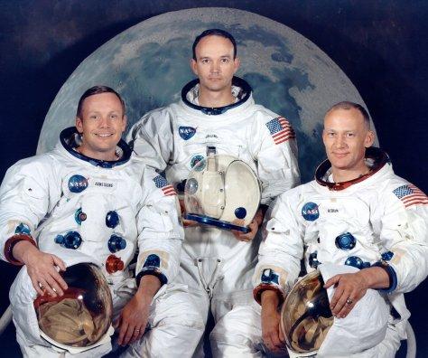 Tha APOLLO 11 Lunar Landing mission crew: Mission Commander Neil Armstrong, Command-Service Module 'Columbia' pilot Michael Collins, and Lunar Module 'Eagle' pilot Edwin Aldrin, Jr.