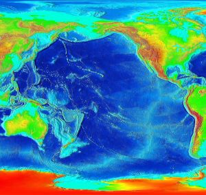 Elevation map of the Pacific Ocean (USGS-NASA) based on satellite remote sensing observations