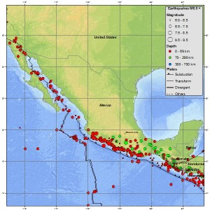 Seismicity map (USGS) of Mexico also showing a portion of Guatemala. Clearly the region affected by the MM6.9 earlier this week has a history of similar and worse impacts