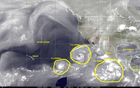 Satellite image (NOAA) of 22 August 2014 showing water vapor in the atmosphere to highlight the three tropical storms simultaneously active over the East Pacific