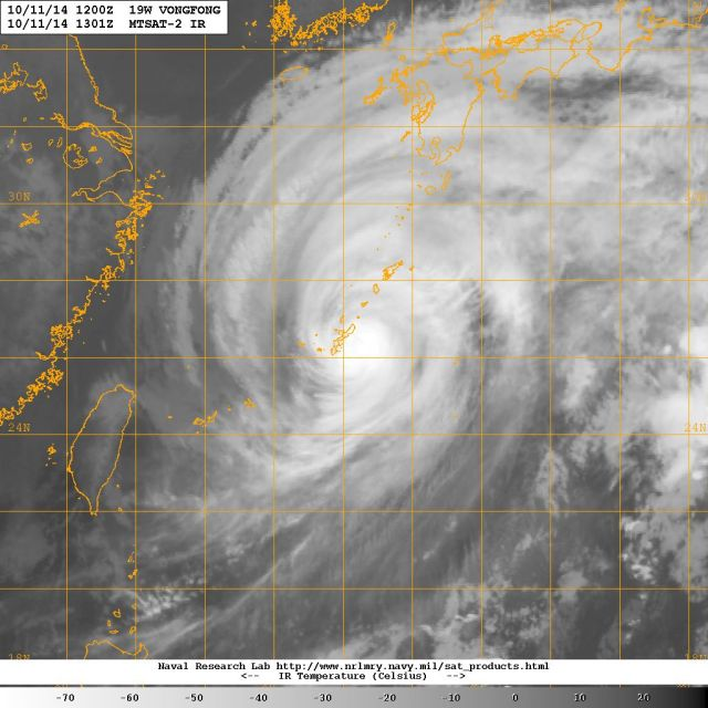 Satellite image (NASA) of 11 October 2014 of super-typhoon as it hits Okinawa VONGFONG